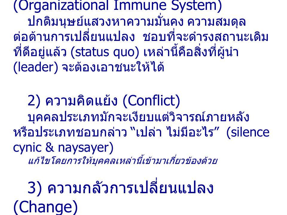 1) ระบบภูมิคุ้มกันขององค์กร (Organizational Immune System) ปกติมนุษย์แสวงหาความมั่นคง ความสมดุล ต่อต้านการเปลี่ยนแปลง ชอบที่จะดำรงสถานะเดิม ที่ดีอยู่แ