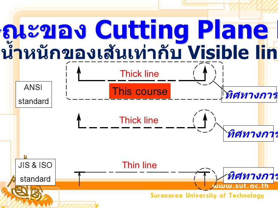 ลักษณะของ Cutting Plane Line น้ำหนักของเส้นเท่ากับ Visible line ANSI standard Thick line JIS & ISO standard Thin line ทิศทางการมอง This course