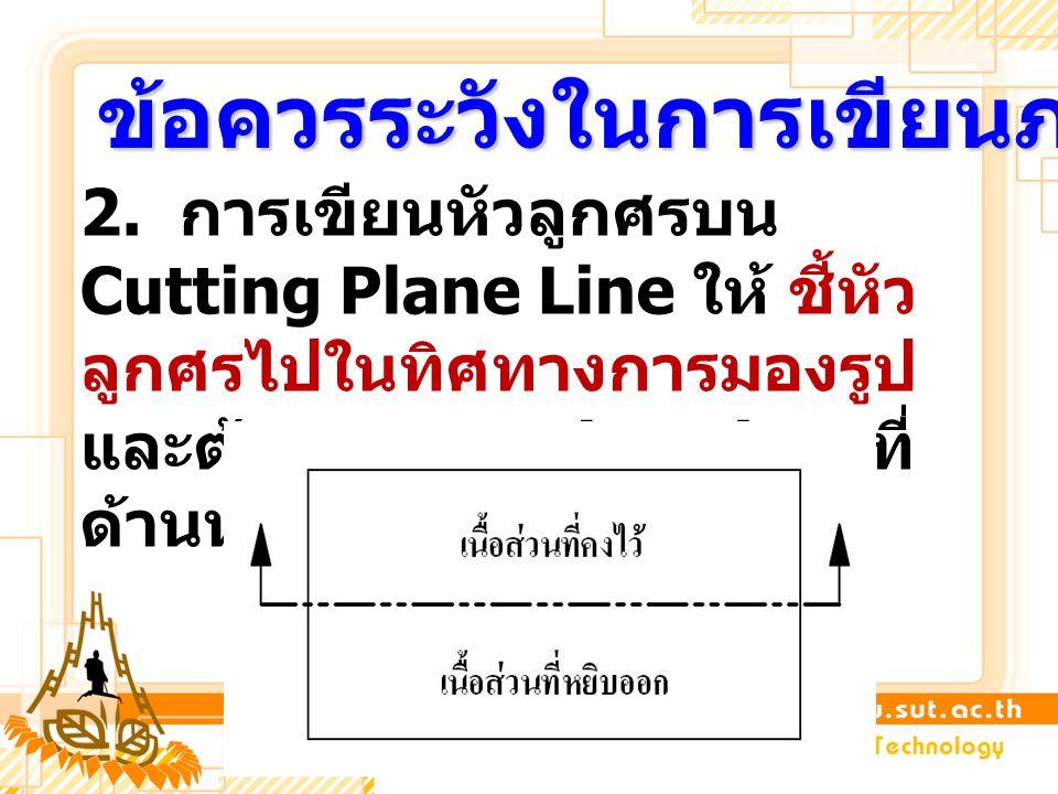 2. การเขียนหัวลูกศรบน Cutting Plane Line ให้ ชี้หัว ลูกศรไปในทิศทางการมองรูป และต้องวาง Section view ที่ ด้านหลังของทิศทางลูกศร ข้อควรระวังในการเขียนภ