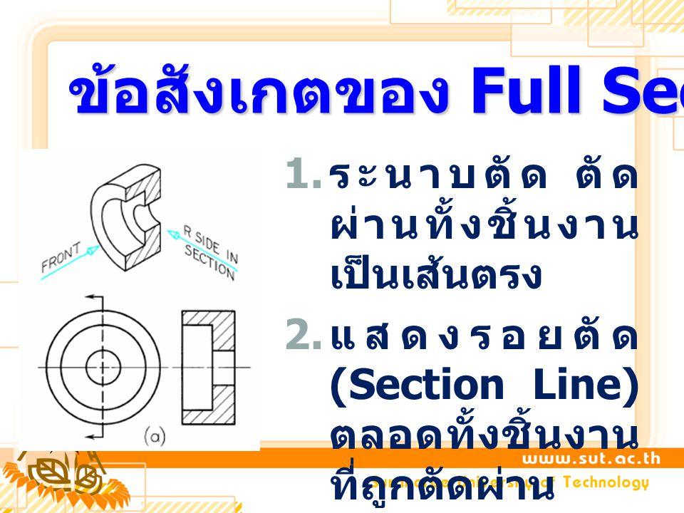 1. ระนาบตัด ตัด ผ่านทั้งชิ้นงาน เป็นเส้นตรง 2. แสดงรอยตัด (Section Line) ตลอดทั้งชิ้นงาน ที่ถูกตัดผ่าน ข้อสังเกตของ Full Section