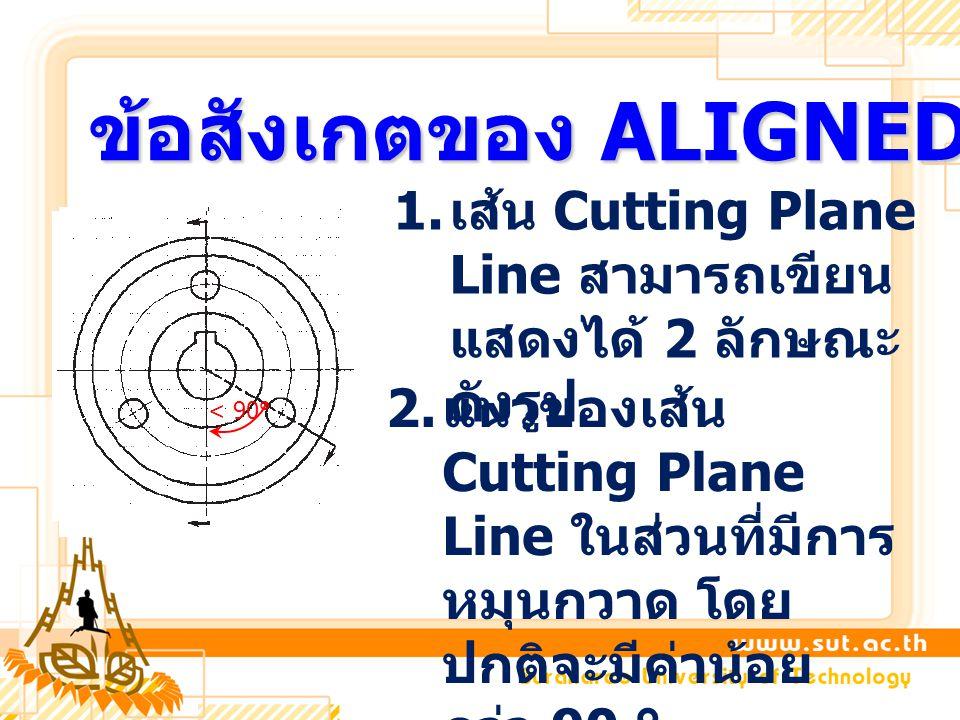 ข้อสังเกตของ ALIGNED SECTION 1. เส้น Cutting Plane Line สามารถเขียน แสดงได้ 2 ลักษณะ ดังรูป 2. แนวของเส้น Cutting Plane Line ในส่วนที่มีการ หมุนกวาด โ