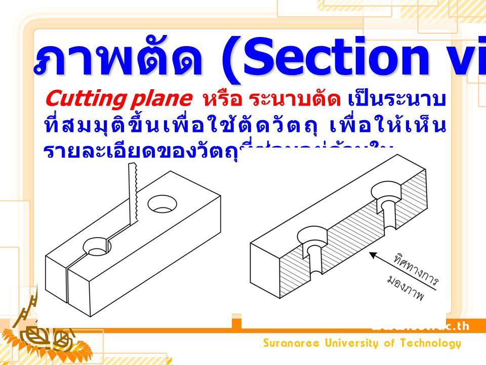 ภาพตัด (Section view) Cutting plane หรือ ระนาบตัด เป็นระนาบ ที่สมมุติขึ้นเพื่อใช้ตัดวัตถุ เพื่อให้เห็น รายละเอียดของวัตถุที่ซ่อนอยู่ด้านใน