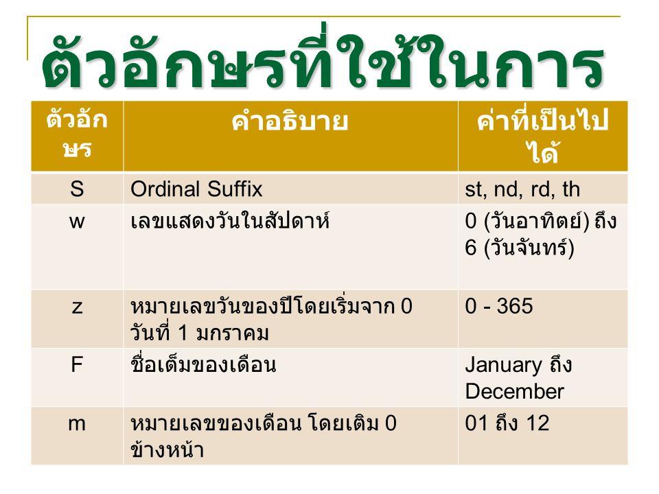 ตัวอักษรที่ใช้ในการ จัดรูปแบบ ตัวอัก ษร คำอธิบายค่าที่เป็นไป ได้ SOrdinal Suffixst, nd, rd, th w เลขแสดงวันในสัปดาห์ 0 ( วันอาทิตย์ ) ถึง 6 ( วันจันทร์ ) z หมายเลขวันของปีโดยเริ่มจาก 0 วันที่ 1 มกราคม 0 - 365 F ชื่อเต็มของเดือน January ถึง December m หมายเลขของเดือน โดยเติม 0 ข้างหน้า 01 ถึง 12
