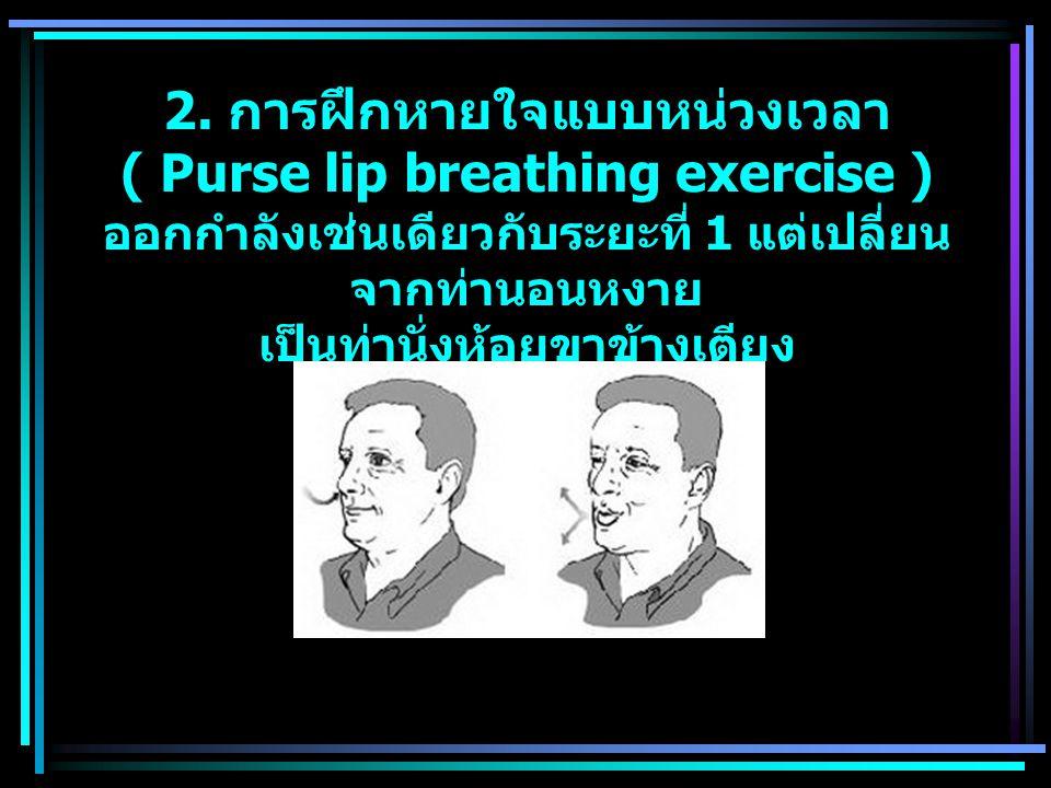 2. การฝึกหายใจแบบหน่วงเวลา ( Purse lip breathing exercise ) ออกกำลังเช่นเดียวกับระยะที่ 1 แต่เปลี่ยน จากท่านอนหงาย เป็นท่านั่งห้อยขาข้างเตียง