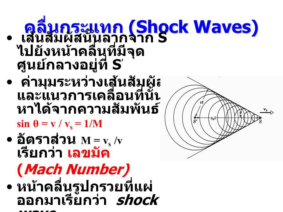 คลื่นกระแทก (Shock Waves) ไม่สามารถใช้สมการของดอปเปลอร์ในการหาค่าอัตราเร็วของเสียง หรือ ความถี่ได้ เมื่อตัวกลางเคลื่อนที่เร็วกว่าเสียง คลื่นกระแทกเป็นผลมาจากการที่แหล่งกำเนิดมีความเร็วมากกว่า ความเร็วของคลื่น วงกลมในรูปใช้แทนหน้าคลื่นที่ถูกส่งออกมาจากแหล่งกำเนิด