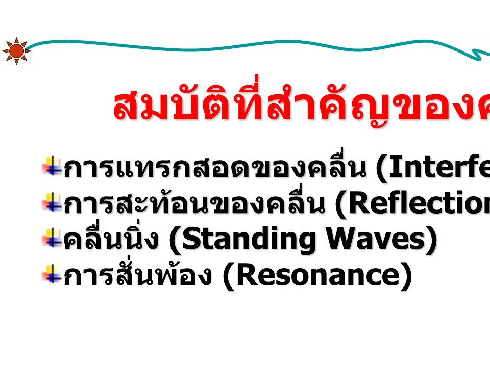 สมบัติที่สำคัญของคลื่น การแทรกสอดของคลื่น (Interference of Waves) การสะท้อนของคลื่น (Reflection of Waves) คลื่นนิ่ง (Standing Waves) การสั่นพ้อง (Reso