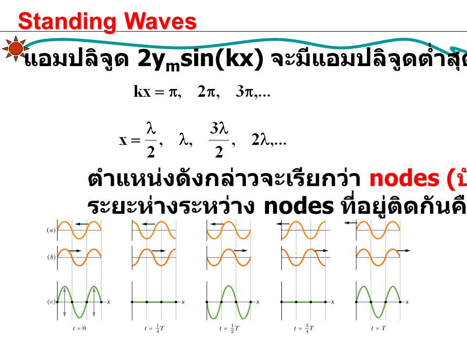 แอมปลิจูด 2y m sin(kx) จะมีแอมปลิจูดต่ำสุด (= 0) ที่ตำแหน่ง ตำแหน่งดังกล่าวจะเรียกว่า nodes ( บัพ ) ระยะห่างระหว่าง nodes ที่อยู่ติดกันคือ /2 Standing