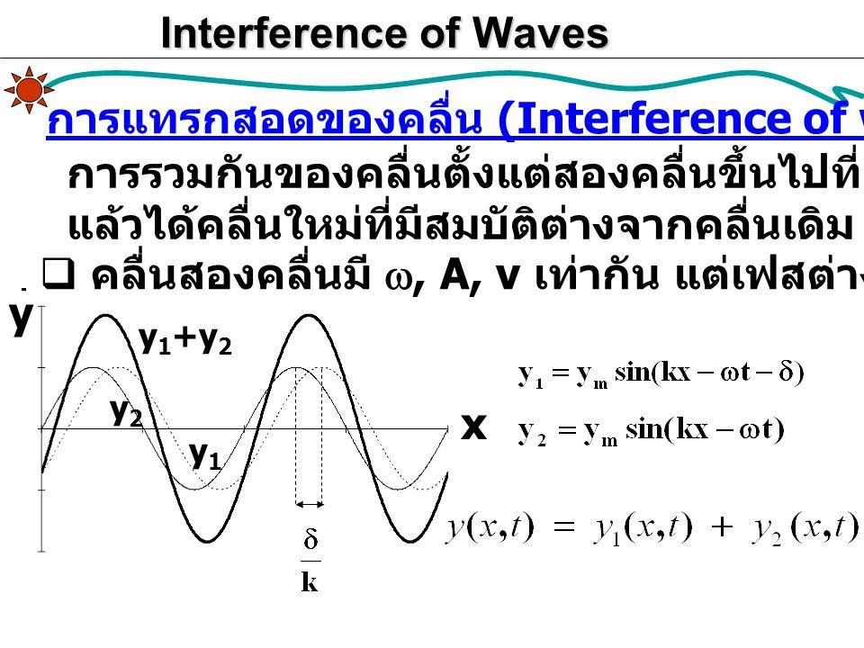 Interference of Waves การแทรกสอดของคลื่น (Interference of waves) การรวมกันของคลื่นตั้งแต่สองคลื่นขึ้นไปที่ ( อาจ ) มีสมบัติต่างกัน แล้วได้คลื่นใหม่ที่