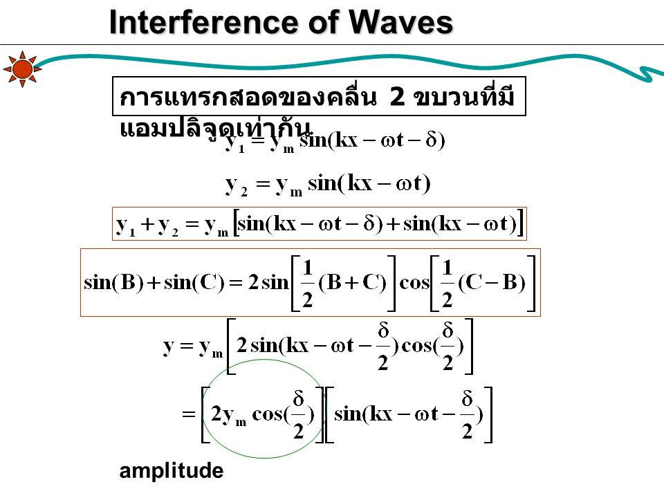 Interference of Waves amplitude การแทรกสอดของคลื่น 2 ขบวนที่มี แอมปลิจูดเท่ากัน