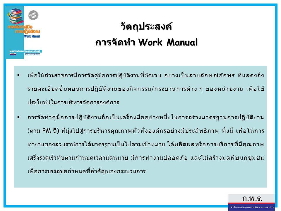 วัตถุประสงค์ การจัดทำ Work Manual  เพื่อให้ส่วนราชการมีการจัดคู่มือการปฏิบัติงานที่ชัดเจน อย่างเป็นลายลักษณ์อักษร ที่แสดงถึง รายละเอียดขั้นตอนการปฏิบ