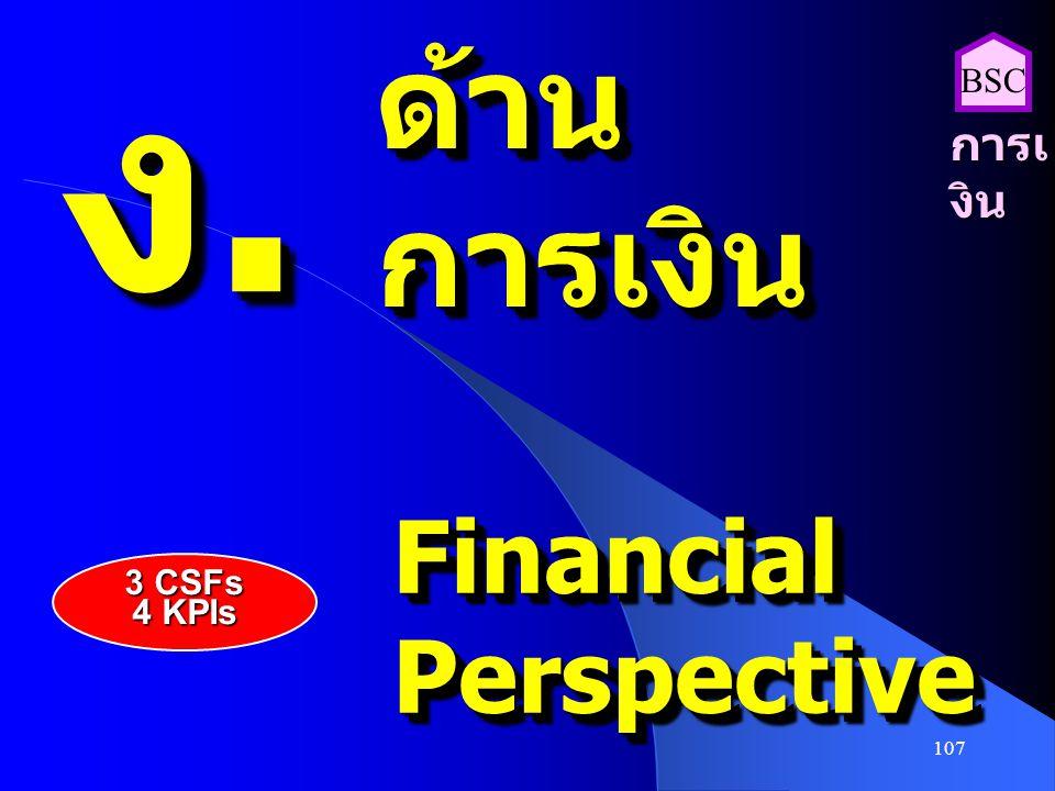 107 ง.ง.ง.ง. ง.ง.ง.ง. ด้านการเงินด้านการเงิน FinancialPerspectiveFinancialPerspective การเ งิน BSC 3 CSFs 4 KPIs