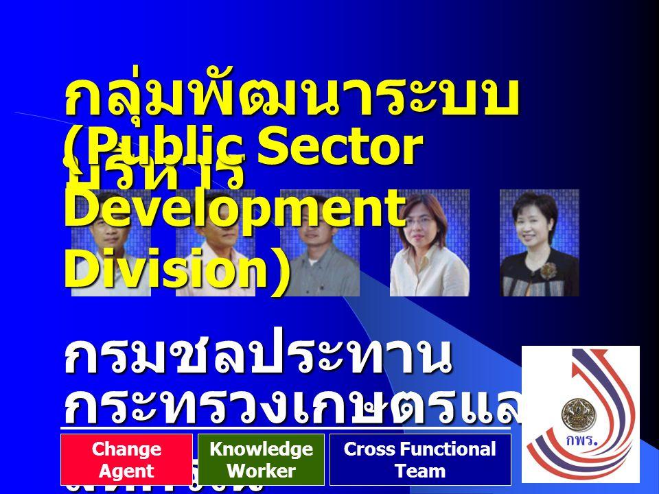 128 กลุ่มพัฒนาระบบ บริหาร กรมชลประทาน (Public Sector Development Division) กระทรวงเกษตรและ สหกรณ์ Change Agent Knowledge Worker Cross Functional Team