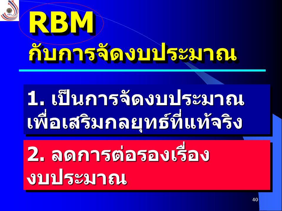 40 RBMกับการจัดงบประมาณRBMกับการจัดงบประมาณ 1. เป็นการจัดงบประมาณ เพื่อเสริมกลยุทธ์ที่แท้จริง 2. ลดการต่อรองเรื่อง งบประมาณ