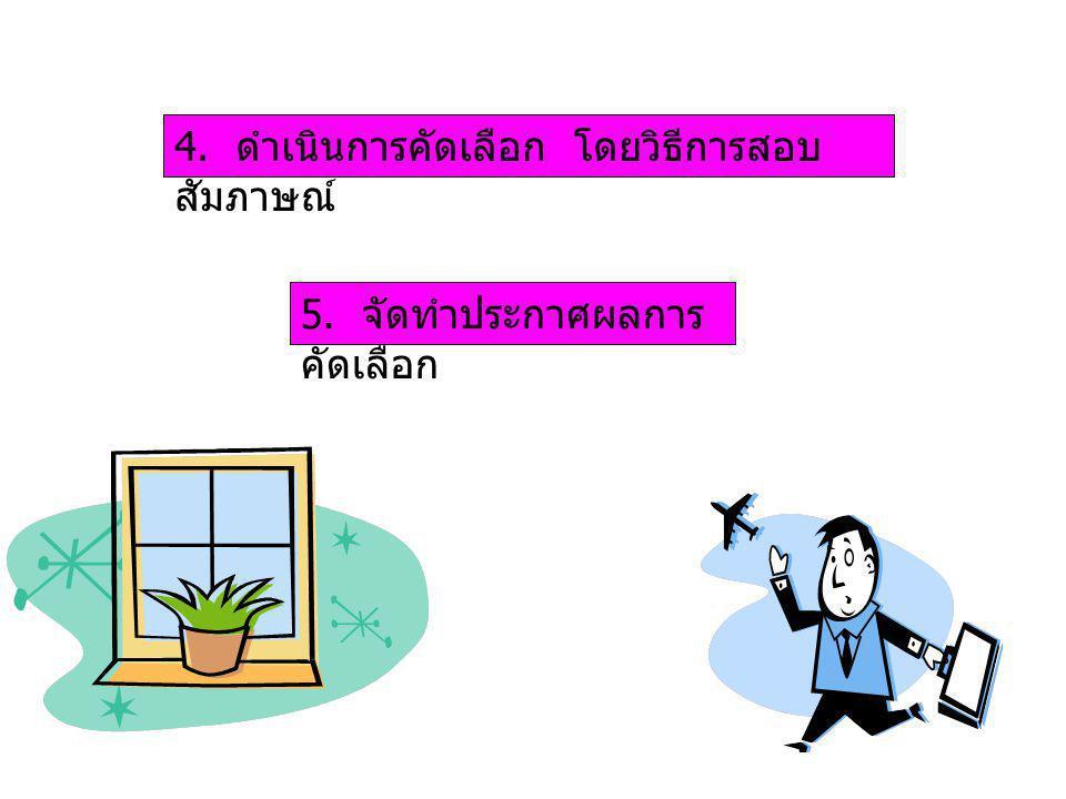 4. ดำเนินการคัดเลือก โดยวิธีการสอบ สัมภาษณ์ 5. จัดทำประกาศผลการ คัดเลือก