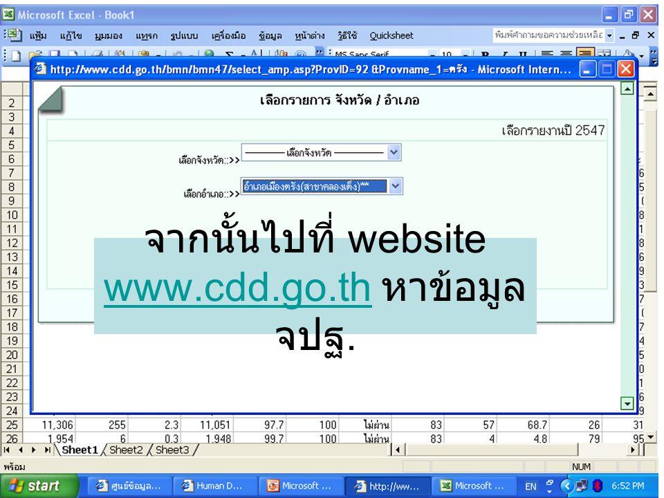 จากนั้นไปที่ website www.cdd.go.th หาข้อมูล จปฐ. www.cdd.go.th