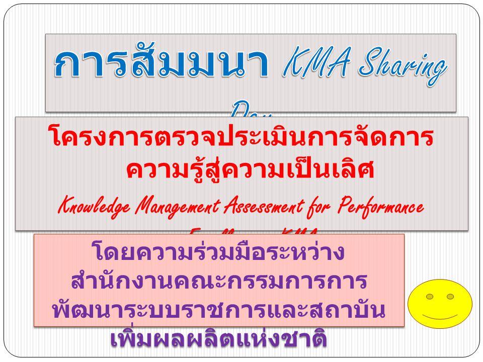โครงการตรวจประเมินการจัดการ ความรู้สู่ความเป็นเลิศ Knowledge Management Assessment for Performance Excellence : KMA โครงการตรวจประเมินการจัดการ ความรู้สู่ความเป็นเลิศ Knowledge Management Assessment for Performance Excellence : KMA โดยความร่วมมือระหว่าง สำนักงานคณะกรรมการการ พัฒนาระบบราชการและสถาบัน เพิ่มผลผลิตแห่งชาติ โดยความร่วมมือระหว่าง สำนักงานคณะกรรมการการ พัฒนาระบบราชการและสถาบัน เพิ่มผลผลิตแห่งชาติ