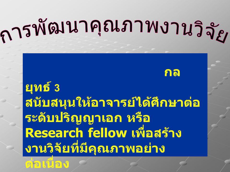 กล ยุทธ์ 3 สนับสนุนให้อาจารย์ได้ศึกษาต่อ ระดับปริญญาเอก หรือ Research fellow เพื่อสร้าง งานวิจัยที่มีคุณภาพอย่าง ต่อเนื่อง