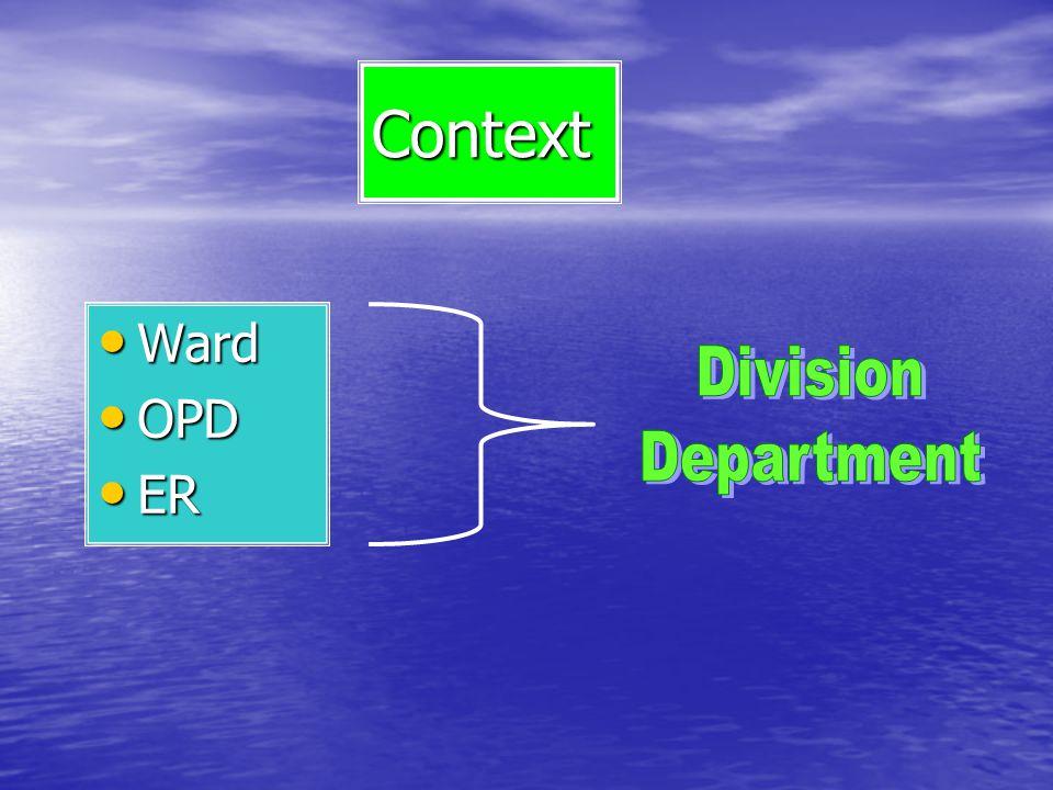 Context Ward Ward OPD OPD ER ER