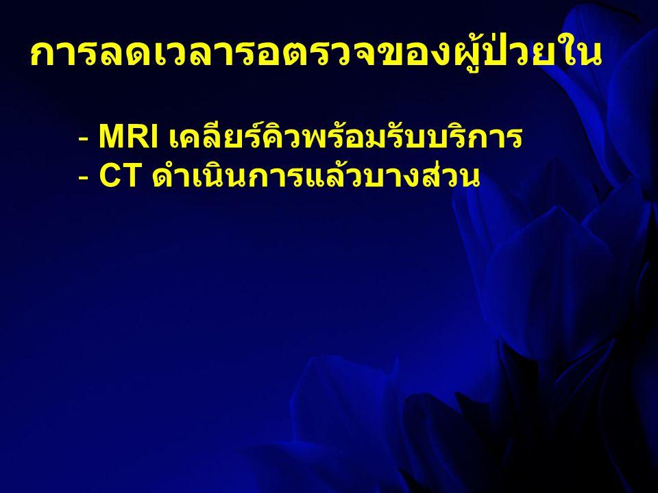 การลดเวลารอตรวจของผู้ป่วยใน - MRI เคลียร์คิวพร้อมรับบริการ - CT ดำเนินการแล้วบางส่วน
