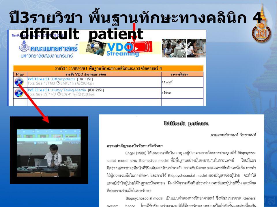 ปี 3 รายวิชา พื้นฐานทักษะทางคลินิก 4 difficult patient
