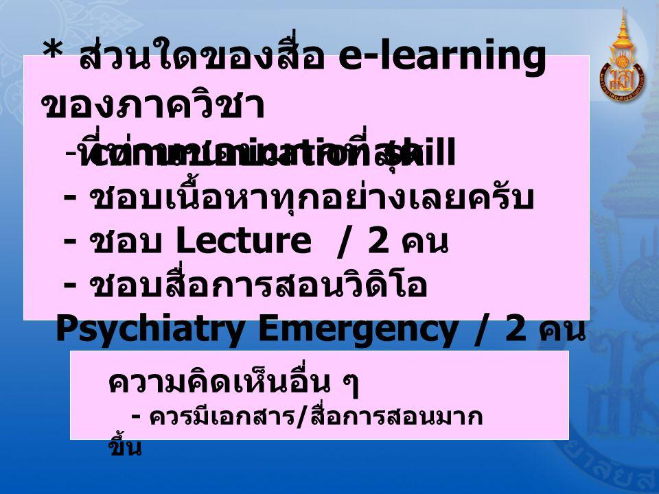 * ส่วนใดของสื่อ e-learning ของภาควิชา ที่ท่านชอบมากที่สุด - communication skill - ชอบเนื้อหาทุกอย่างเลยครับ - ชอบ Lecture / 2 คน - ชอบสื่อการสอนวิดิโอ Psychiatry Emergency / 2 คน ความคิดเห็นอื่น ๆ - ควรมีเอกสาร / สื่อการสอนมาก ขึ้น