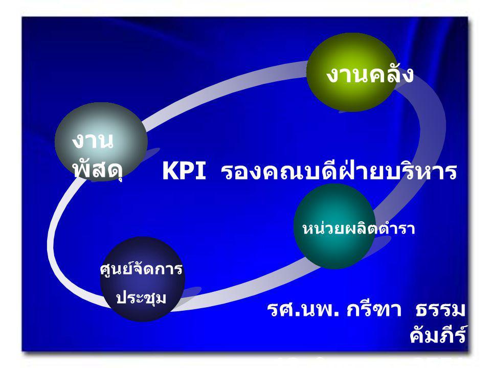 งานคลัง งาน พัสดุ ศูนย์จัดการ ประชุม หน่วยผลิตตำรา KPI รองคณบดีฝ่ายบริหาร รศ.