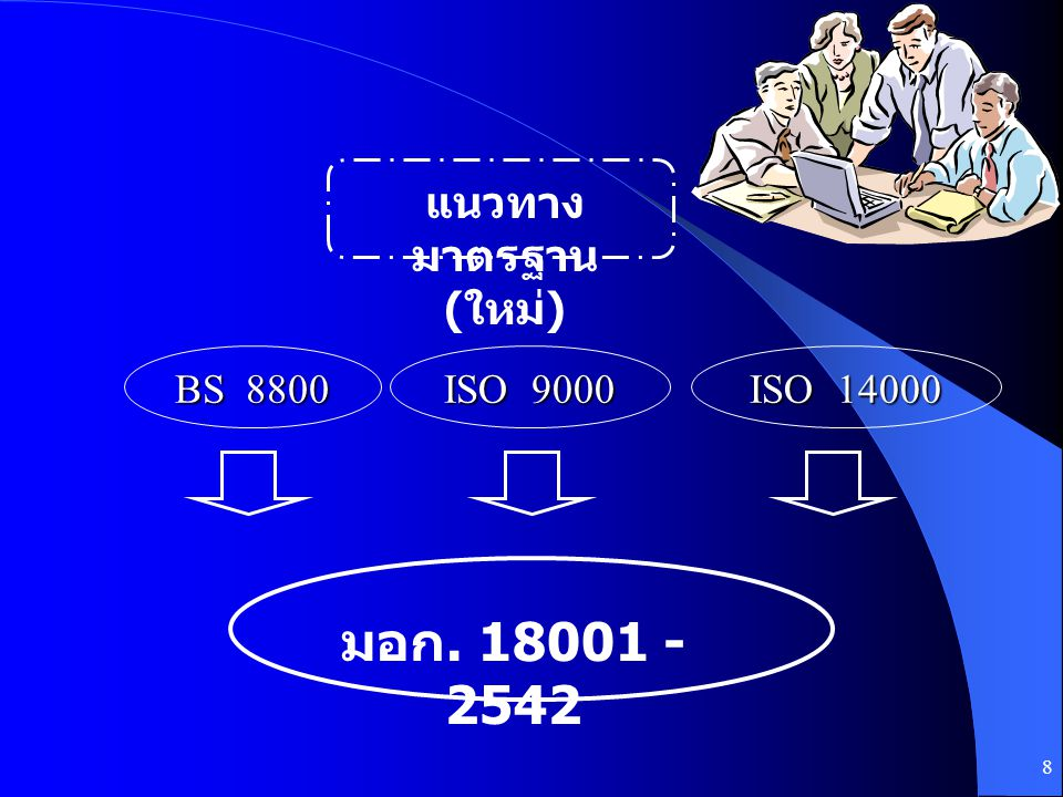 8 BS 8800 ISO 9000 ISO 14000 มอก. 18001 - 2542 แนวทาง มาตรฐาน ( ใหม่ )