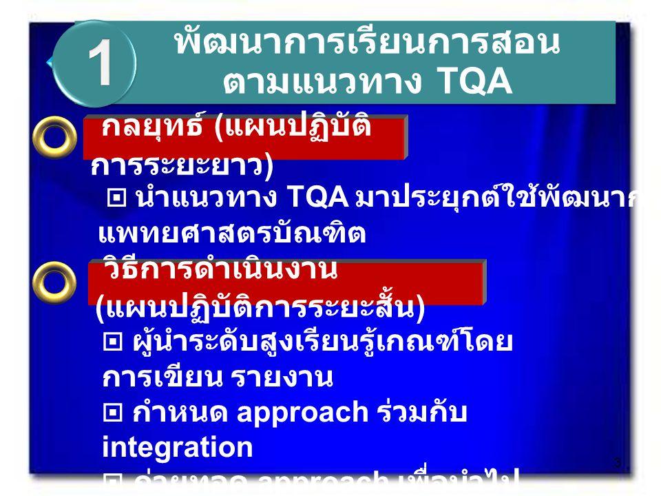  นำแนวทาง TQA มาประยุกต์ใช้พัฒนาการเรียนการสอน แพทยศาสตรบัณฑิต กลยุทธ์ ( แผนปฏิบัติ การระยะยาว ) วิธีการดำเนินงาน ( แผนปฏิบัติการระยะสั้น )  ผู้นำระดับสูงเรียนรู้เกณฑ์โดย การเขียน รายงาน  กำหนด approach ร่วมกับ integration  ถ่ายทอด approach เพื่อนำไป ปฏิบัติ  ปรับปรุง approach รวมทั้ง KM พัฒนาการเรียนการสอน ตามแนวทาง TQA 3
