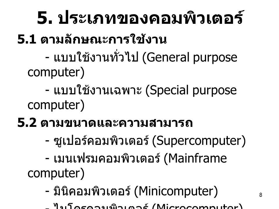9 6.องค์ประกอบของ คอมพิวเตอร์ 1. ฮาร์ดแวร์ (Hardware) 2.