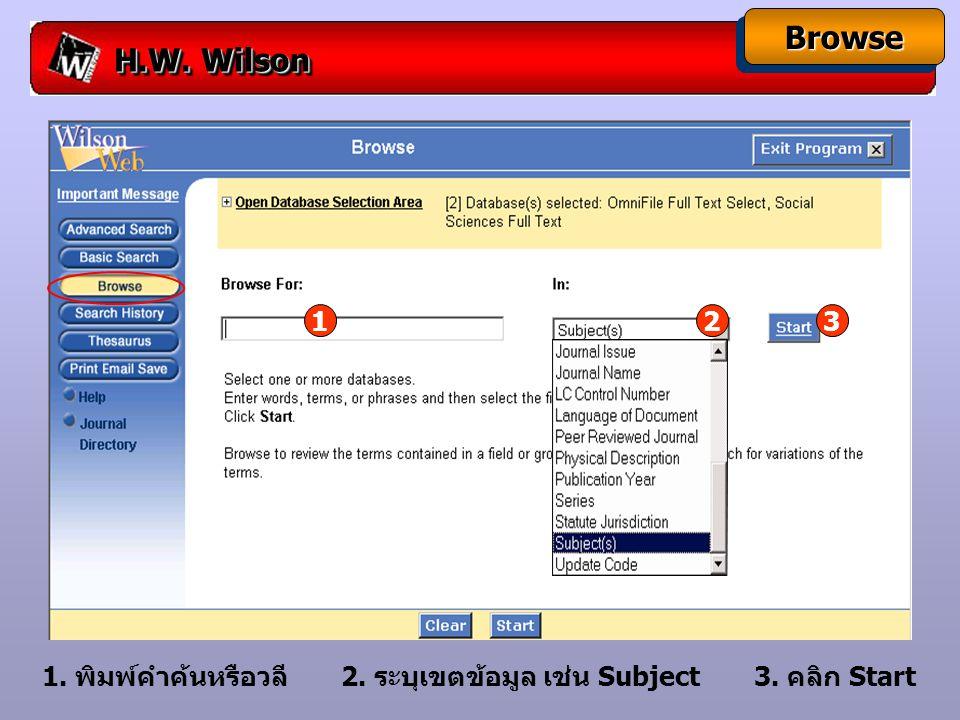 H.W.Wilson ThesaurusThesaurus Thesaurusใช้เพื่อค้นหาหัวเรื่องที่สัมพันธ์กัน 1.