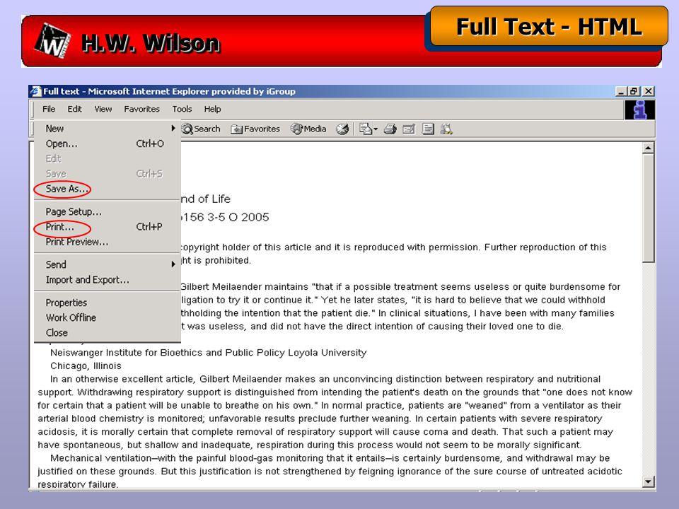 H.W. Wilson Full Text - HTML
