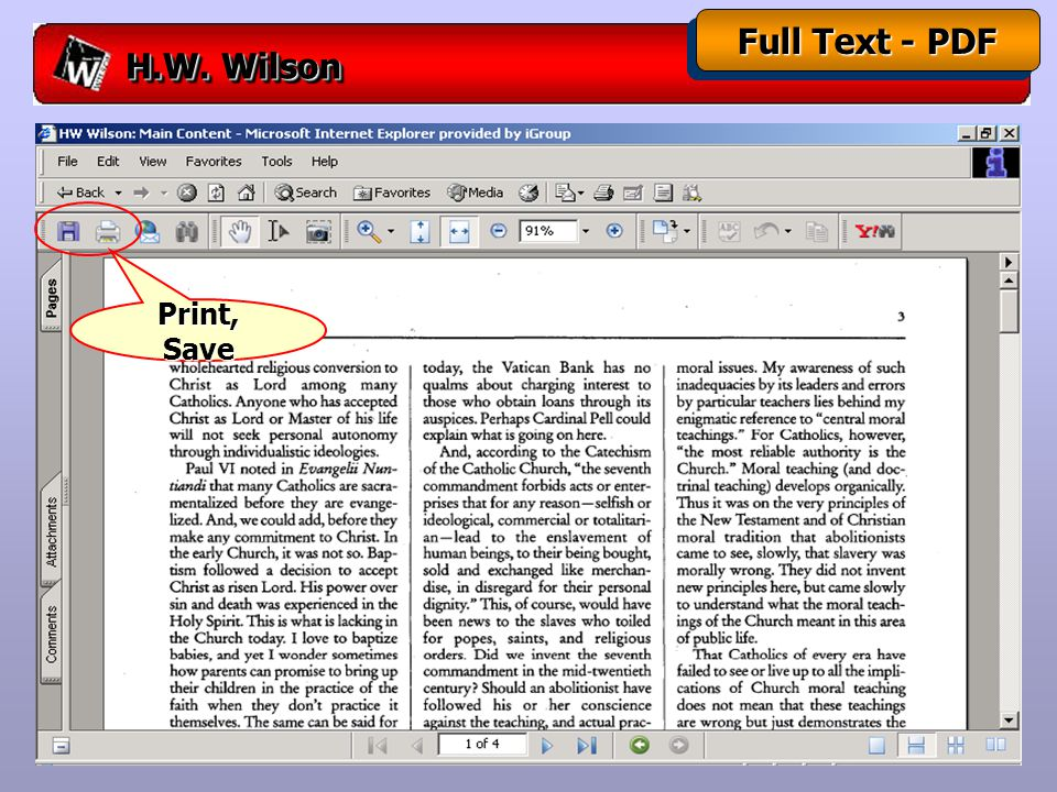 H.W. Wilson Full Text - PDF Print, Save