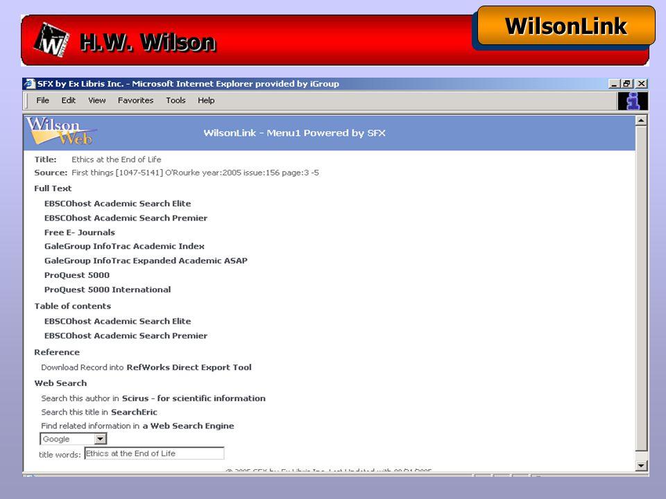 H.W. Wilson WilsonLinkWilsonLink