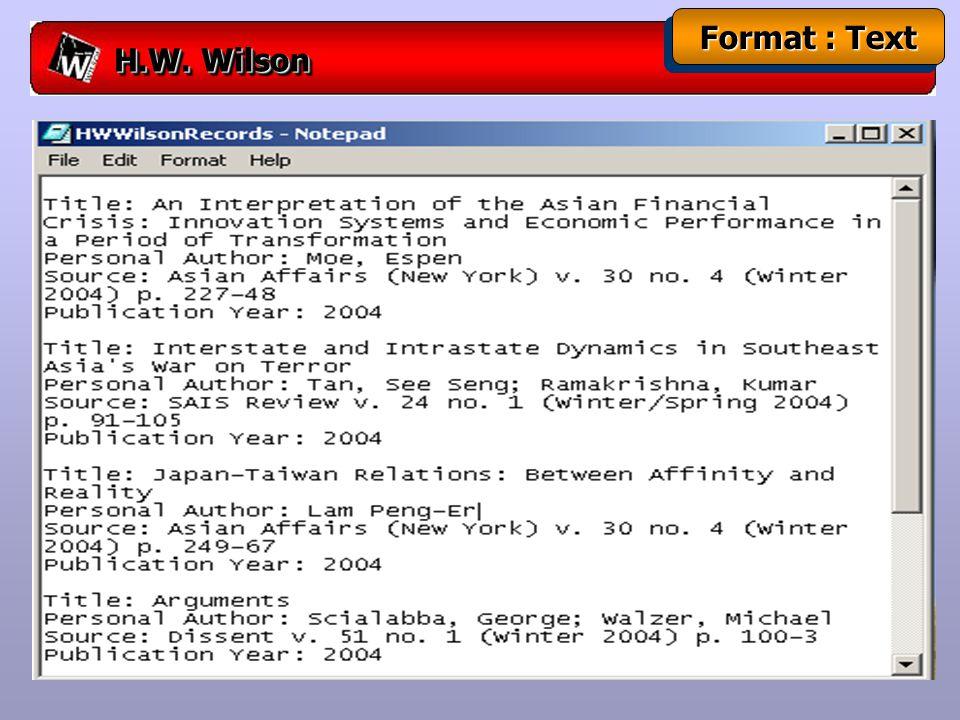 H.W. Wilson Format : Text