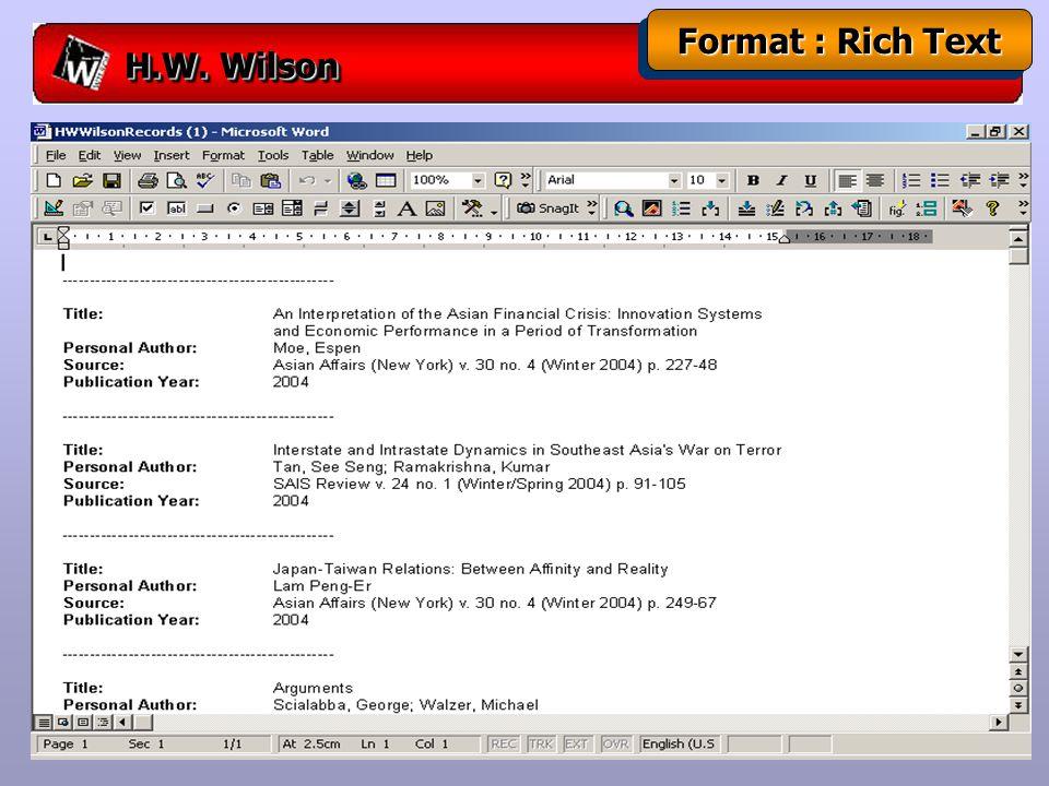H.W. Wilson Format : Rich Text