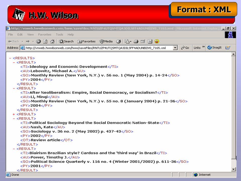 H.W. Wilson Format : XML