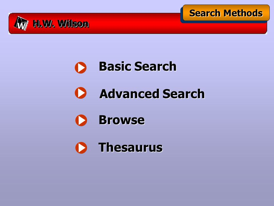 H.W. Wilson Search Methods Basic Search Advanced Search Browse Thesaurus