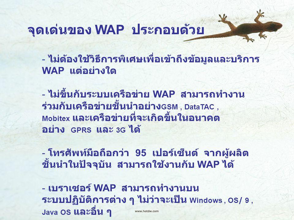 จุดเด่นของ WAP ประกอบด้วย - ไม่ต้องใช้วิธีการพิเศษเพื่อเข้าถึงข้อมูลและบริการ WAP แต่อย่างใด - ไม่ขึ้นกับระบบเครือข่าย WAP สามารถทำงาน ร่วมกับเครือข่ายชั้นนำอย่าง GSM, DataTAC, Mobitex และเครือข่ายที่จะเกิดขึ้นในอนาคต อย่าง GPRS และ 3G ได้ - โทรศัพท์มือถือกว่า 95 เปอร์เซ็นต์ จากผู้ผลิต ชั้นนำในปัจจุบัน สามารถใช้งานกับ WAP ได้ - เบราเซอร์ WAP สามารถทำงานบน ระบบปฏิบัติการต่าง ๆ ไม่ว่าจะเป็น Windows, OS/ 9, Java OS และอื่น ๆ