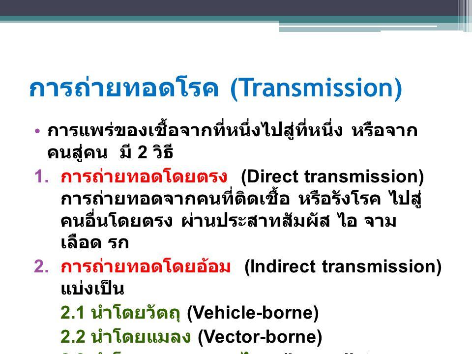 การถ่ายทอดโรค (Transmission) การแพร่ของเชื้อจากที่หนึ่งไปสู่ที่หนึ่ง หรือจาก คนสู่คน มี 2 วิธี 1. การถ่ายทอดโดยตรง (Direct transmission) การถ่ายทอดจาก