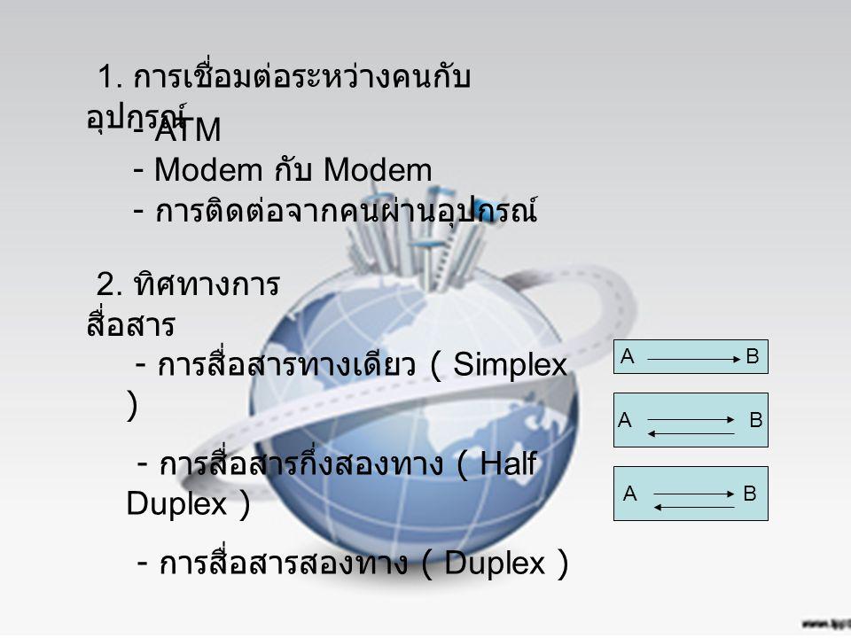 1. การเชื่อมต่อระหว่างคนกับ อุปกรณ์ - ATM - Modem กับ Modem - การติดต่อจากคนผ่านอุปกรณ์ 2. ทิศทางการ สื่อสาร - การสื่อสารทางเดียว ( Simplex ) - การสื่