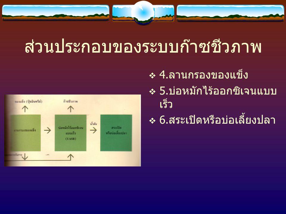ส่วนประกอบของระบบก๊าซชีวภาพ  1. บ่อรวมน้ำเสีย  2. บ่อตกตะกอน  3. บ่อหมักไร้ออกซิเจน