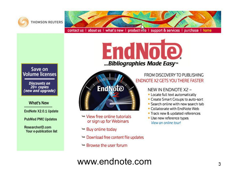 4 EndNote เป็นโปรแกรมเพื่อการค้าที่ผลิตโดย บริษัท Thomson ResearchSoft ซึ่งมี version สำหรับ Window, และ Macintosh EndNote is an online search tool –it provides a simple way to search online bibliographic databases and retrieve the references directly into EndNote EndNote is a reference and image database –storing, managing, and searching for bibliographic references in your private reference library EndNote is a bibliography and manuscript maker –it formats citations, figures, and tables in Microsoft® Word with the Cite While You Write™ feature