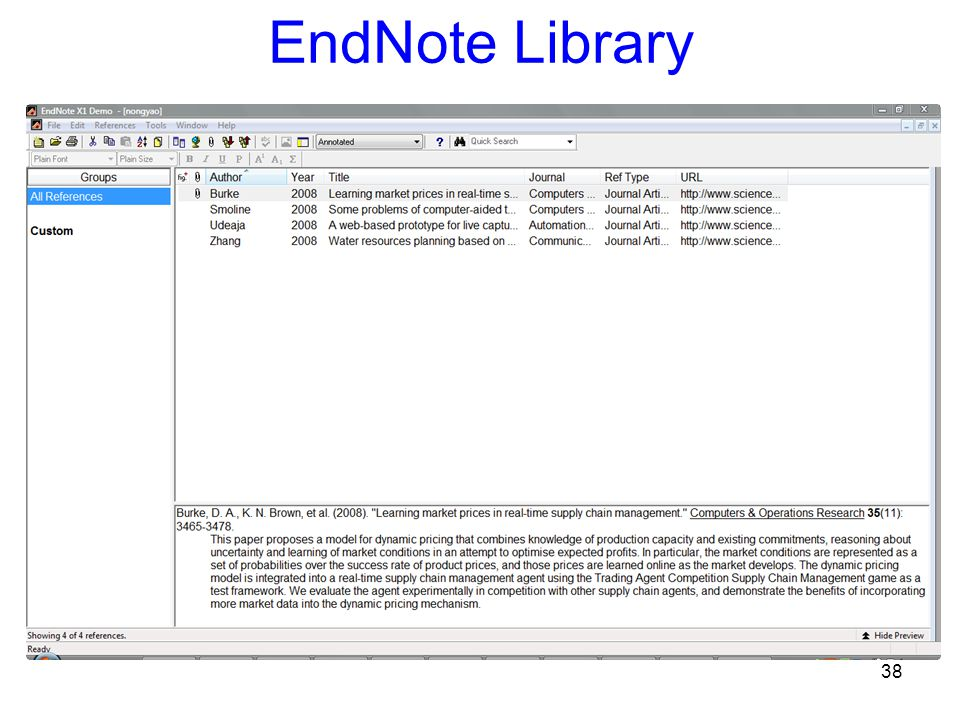 38 EndNote Library