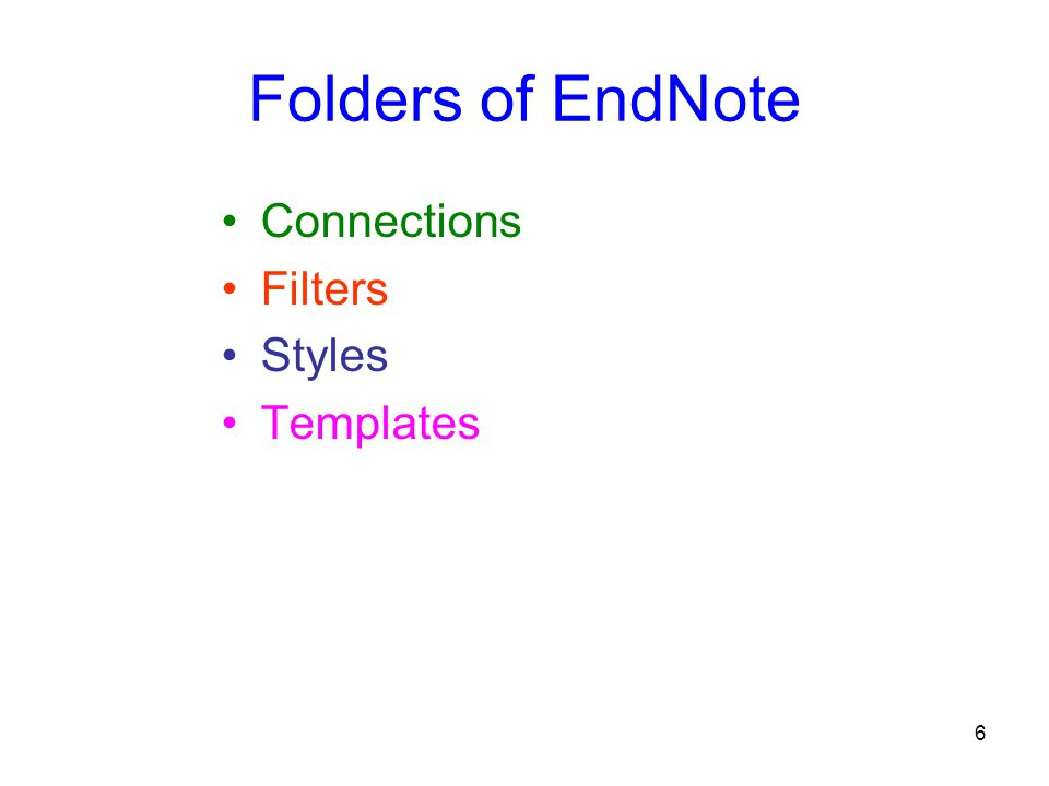 6 Folders of EndNote Connections Filters Styles Templates