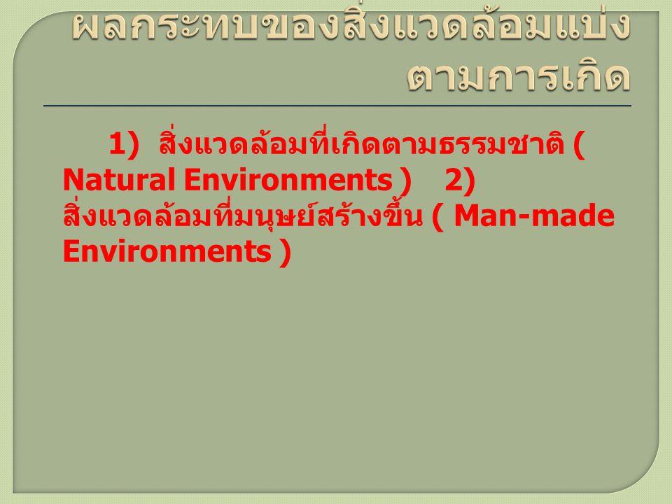 1) สิ่งแวดล้อมที่เกิดตามธรรมชาติ ( Natural Environments ) 2) สิ่งแวดล้อมที่มนุษย์สร้างขึ้น ( Man-made Environments )