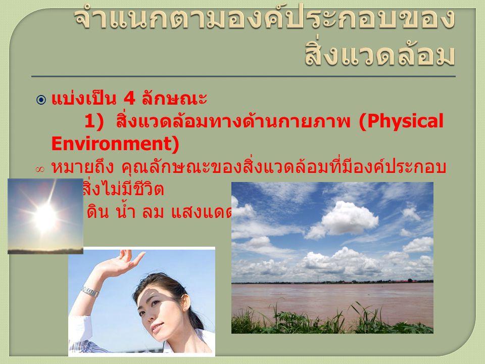  แบ่งเป็น 4 ลักษณะ 1) สิ่งแวดล้อมทางด้านกายภาพ (Physical Environment) ∞ หมายถึง คุณลักษณะของสิ่งแวดล้อมที่มีองค์ประกอบ เป็นสิ่งไม่มีชีวิต ∞ เช่น ดิน