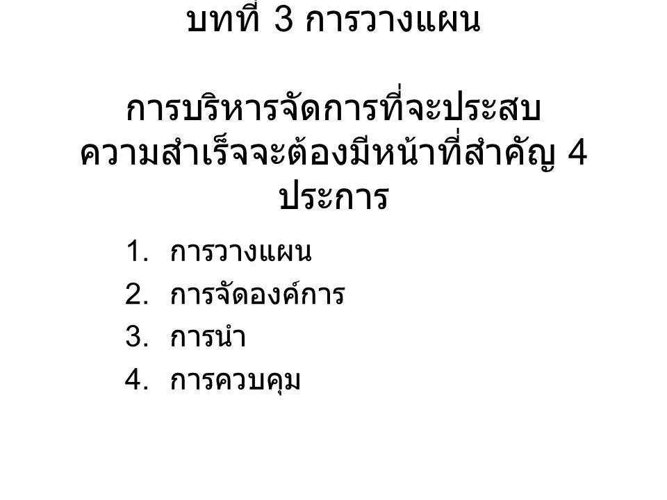 บทที่ 3 การวางแผน การบริหารจัดการที่จะประสบ ความสำเร็จจะต้องมีหน้าที่สำคัญ 4 ประการ 1. การวางแผน 2. การจัดองค์การ 3. การนำ 4. การควบคุม