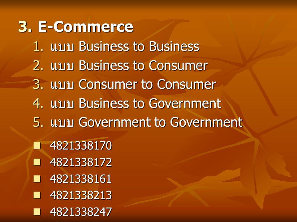  การทำ E-Commerce  การเตรียมตัวเพื่อเริ่มต้นการทำ E- Commerce  ช่วงเวลาที่เหมาะสม  การเลือกเทคโนโลยีและซอร์ฟแวร์ที่ เหมาะสม  องค์ประกอบและวิธีการประชาสัมพันธ์ 4921319363 4921319363 4921319079 4921319079 4921319067 4921319067