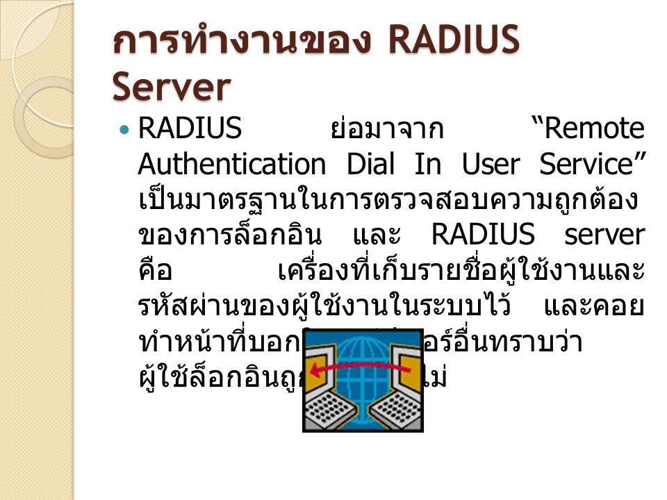 """การทำงานของ RADIUS Server RADIUS ย่อมาจาก """"Remote Authentication Dial In User Service"""" เป็นมาตรฐานในการตรวจสอบความถูกต้อง ของการล็อกอิน และ RADIUS ser"""