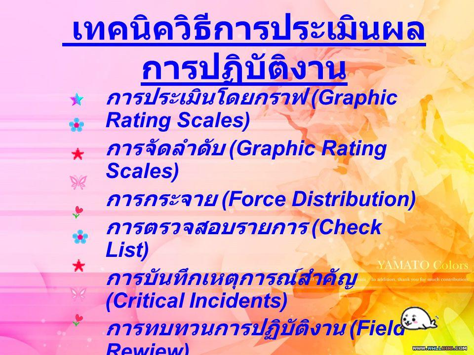 เทคนิควิธีการประเมินผล การปฏิบัติงาน การประเมินโดยกราฟ (Graphic Rating Scales) การจัดลำดับ (Graphic Rating Scales) การกระจาย (Force Distribution) การต